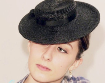 The Betty Boo Hat - Boater - Womens Straw Boater - Old Hollywood