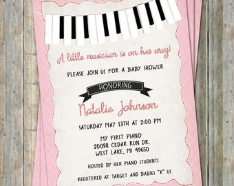 Piano Baby Shower Invitation, Black,white, pink, Little musician