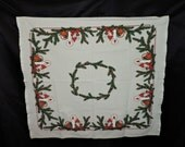 Vintage Danish Christmas Elf Tablecloth Beige Red Green Elves Drinking Coffee 31 x 35 in Holiday Table Cloth