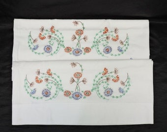 Vintage Hand Embroidered Pillowcase Set Pair Purple Orange Pink Green Floral Flowers Standard Size
