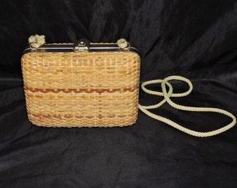 Vintage 60s Woven Straw Basket Purse Hardshell Metal Clasp Top Brown Rope Strap Hippie Boho Shoulder Bag Pocketbook