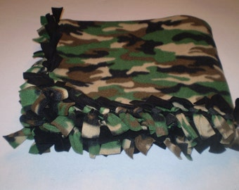 Blanket, Small, Warm, Hand Tied Fleece, Reversible Throw