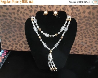 NOW ON SALE Vintage Clear Lucite Gold Beaded Faux Pearl Demi Parure 1950's 1960's Necklace Earring Set Mad Men Mod Retro Chunky Wide Black T