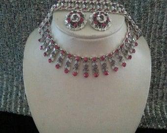 NOW ON SALE Vintage Purple Pink Rhinestone Demi Parure 1950's 1960's Necklace Bracelet Earring Set Retro Chunky Wide Jewelry