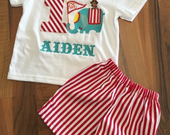 Circus theme carnival birthday boy outfit - shorts and shirt set- circus elephant red white stripe