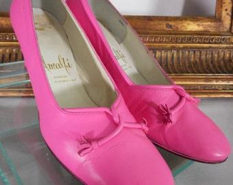 Vintage 1960's Amalfi by Rangoni Pink Pumps - Size 5 1/2 B