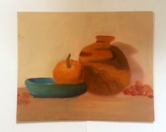 Orange and Blue Complimentary Color Oil Painting Still Life