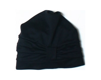 Vintage Fashy Black Cloche Women's Swimming Cap Hat One Size