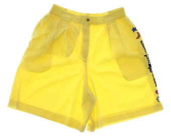 Vintage 90s Green Clubs Yellow Cotton Cargo Shorts UK 12 US 10