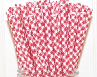 Straws Gingham Straws Birthday Party Favors Baby Shower Favors Birthday Favors Stripe Drinking Straws Red Gingham Party Favor Red Straws