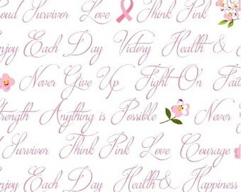 ANYTHING IS POSSIBLE cotton print by the yard Breast Cancer pink words of encouragement on white Windham Fabric 42141-2