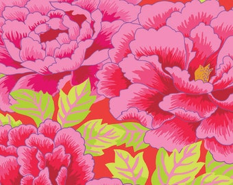 KIMONO-Crimson, magenta by the half yard Kaffe FASSETT Classics cotton quilt craft fabric large floral on red Westminster Fibers