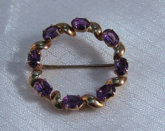 14kt Yellow Gold and Amethyst Circle Brooch