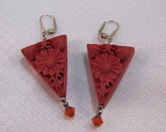 Vintage Chinese Red Cinnabar Carved Earrings