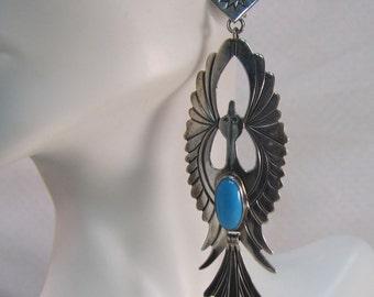 Navajo Silversmith Salina Jake Sterling Peyote Water Birds Earrings with Sleeping Beauty Turquoise