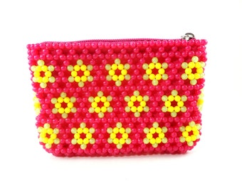 Beaded Wallet, Beaded Coin Purse, Floral Beaded Mini Clutch, Flower Wallet, Pink Wallet, Pink Floral Coin Purse, Beaded Wallet, Mini Clutch