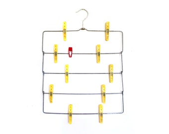 Vintage Tiered Metal Clothes Hanger with Plastic Clips for Scarves, Jewelry Ties Organization