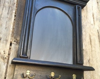 The French Architectural Arch Chalkboard With Shelf and Key Hooks In black