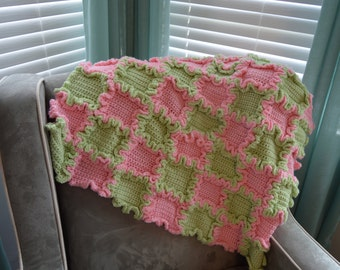 Baby Aghan For Baby Girl Pink and Green all Ruffles Size 30 x 30