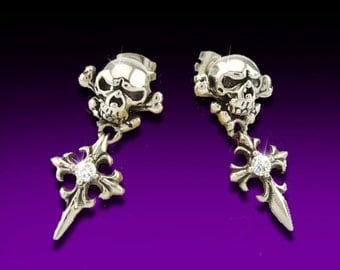 Halloween, Stainless Steel Skull Earring. Skull and Cross, Post Earrings, Tribal Skull Earrings, Decorative Skull and Cross, STL3