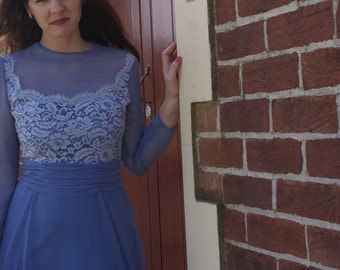 Cornflower Blue 1950s lace and chiffon Vintage number.