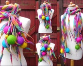 felted wool necklace, lariat, belt ,scarf, handmade, felt, quirky and unusual spiky necklace, lagenlook, READY TO SHIP