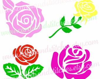 Roses SVG - Flowers SVG - Home Decor - Digital Cutting File - Vector File - Instant Download - Graphic Design - Svg, Dxf, Jpg, Eps, Png