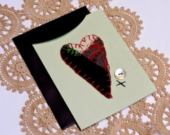 Masculine Valentine Card Paper-Stitched Crazy Quilt Heart Greeting Love Notecard, Birthday, Wedding, Thank You, Get Well Card itsyourcountry