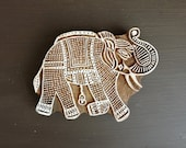 Large Elephant Stamp, Hand Carved Wood Stamp, Handmade Indian Wooden Printing Block, Lucky Elephant, Textile Pottery Stamp, From India