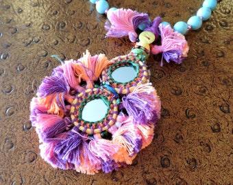 Beaded Tassel Necklace, Kuchi Tassel Necklace, Long Banjara Tribal Indian Necklace, Bohemian Jewelry, Boho Gypsy Jewelry Turquoise Howlite