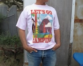 Lets Go Camping T shirt Mens Pale Pink Mens Large