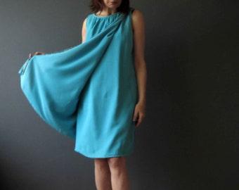 Saks Fifth Avenue Beaded Go Go Cape Mini Dress Sky Blue Small