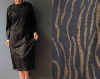 80s Dolman Sleeve Brown Zebra Print Sweater Dress Midi Dress Medium Deadstock