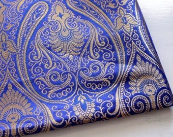 Half Yard-Royal Blue Pure Brocade-Gold Design Silk Sari Fabric-Recycle Silk Fabric-Saree Fabric-Table Runner-Art Quilts-Scarf-Bohemian