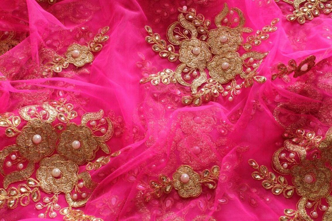 Half Yard Pink Embroidered Net Fabric Wedding Lehenga Sequin