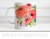 Floral Watercolor Mug Coffee Mug Coffee Lovers Mug Doodle Graphics Floral Coffee Cup Floral Mug Coffee Gift for Her Orange Flowers Birthday