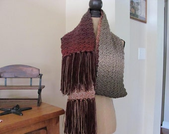 Super Scarf 8 Ft Long Crocheted Beautiful Plum Berry Marbled Super Soft Acrylic Yarn Unisex Extra Long Plum/Brown/Cream/Gray Scalloped Scarf