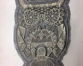 Large Owl Lace Applique - 11 inch Back Patch
