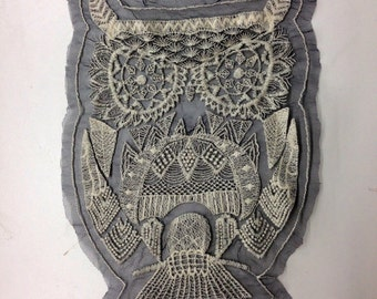 Large Owl Lace Applique - 11 inch Back Patch