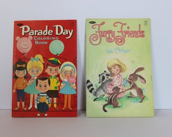 Vintage Coloring Books - Furry Friends and Parade Day