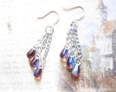 Light Amethyst AB Czech Glass Teardrop Chandelier Earrings TCJG