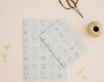 "Illustrated NOTEBOOK ""animal faces"" ///  plain notebook /// size to choose /// gift for her /// notebooks"