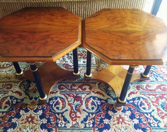 Vintage Baker Furniture Tables Pair Accent, Side, Occasional Tables Empire Style Octagon Shape
