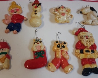 Vintage Christmas Ornaments Hand Crafted Set of 8 Snoopy Dog, Snowman, Santa Claus, Bear, Angel 1980s