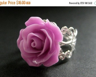 VALENTINE SALE Lilac Purple Rose Ring. Purple Flower Ring. Filigree Ring. Adjustable Ring. Flower Jewelry. Handmade Jewelry.