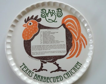 Vintage Royal China Texas BBQ Chicken Ceramic Platter 1983