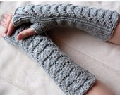 Gray Fingerless Gloves 11 inch Arm Warmers Mittens Long Soft Acrylic