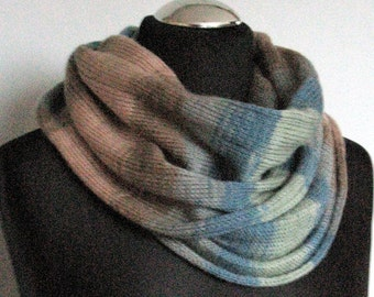 Gray Blue Striped Infinity Scarf Cowl Wrap Beige Brown