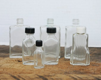 Vintage Empty Smaller Glass Bottles is Assorted Sizes Set of 7
