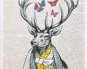 PARTY DEER  butterflies art print poster wall decor hunting dictionary art fashion illustration